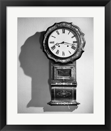 Framed Close-up of clock hanging on wall Print