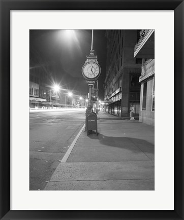 Framed Night view with street clock and mailbox Print