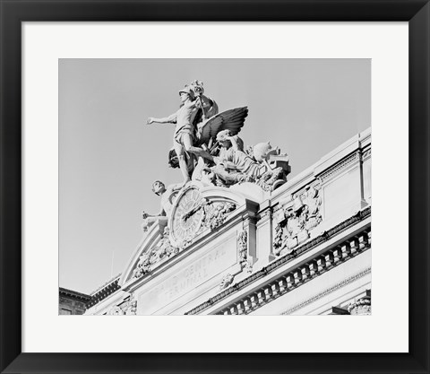 Framed USA, New York State, New York City, Grand Central Clock, low angle view Print