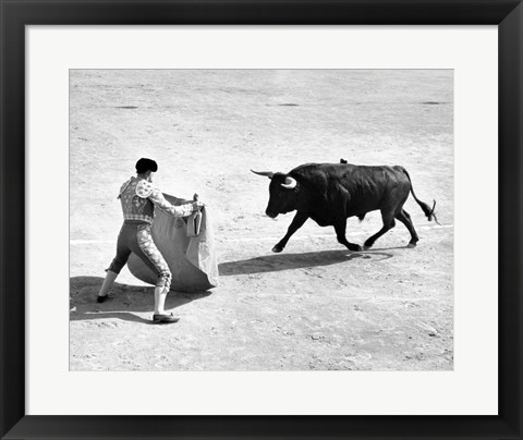 Framed High angle view of a bullfighter with a bull in a bullring, Madrid, Spain Print