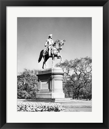 Framed Low angle view of a statue of George Washington, Boston Public Garden, Boston, Massachusetts, USA Print