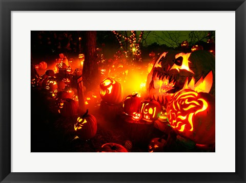 Framed Jack o' lanterns lit up Roger Williams Park Zoo, RI Print