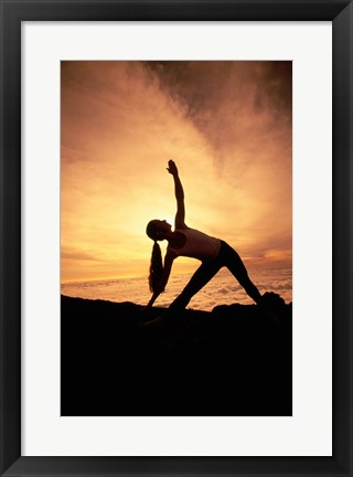 Framed Silhouette of Yoga Pose Extended Triangle Print
