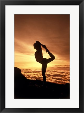 Framed Silhouette of Yoga Pose at Sunset Print