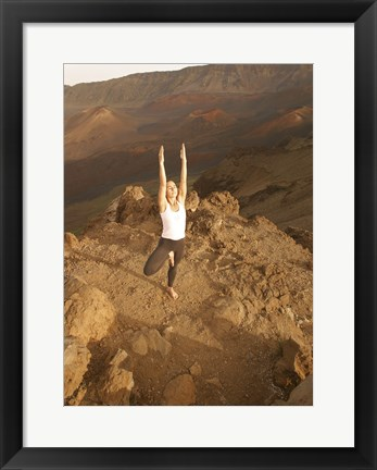 Framed Woman Concentrating While Doing Yoga on Mountain Print