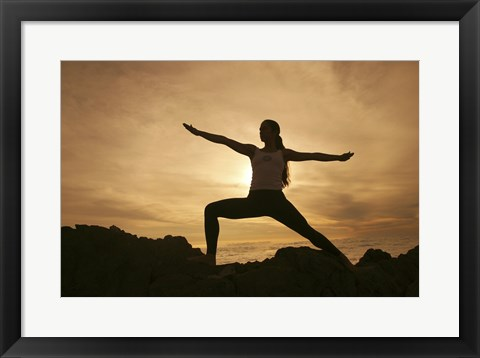 Framed Silhouette of a young woman practicing yoga, Haleakala National Park, Maui, Hawaii, USA Print
