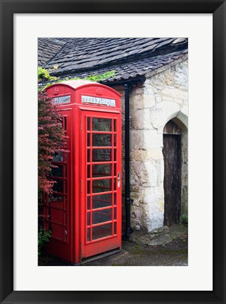 Framed Telephone booth outside a house, Castle Combe, Cotswold, Wiltshire, England Print
