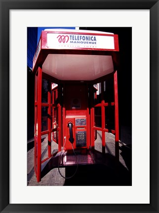 Framed Close-up of a telephone booth, Santiago, Chile Print