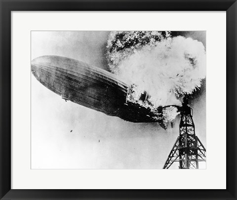 Framed Hindenburg Burning Print