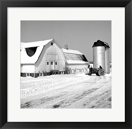 Framed Farmer on Tractor Clearing Snow Away Print