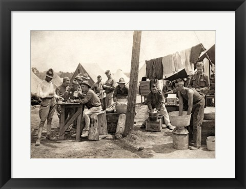 Framed American Soldiers at a Military Camp During World War I, c.1917 Print