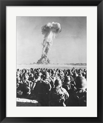 Framed Atomic Bomb Testing in a Desert, Camp Desert Rock, Las Vegas, Nevada, USA Print