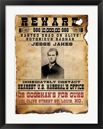 Framed Jesse James Wanted Poster Print