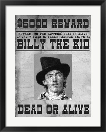 Framed Billy The Kid Wanted Poster Print