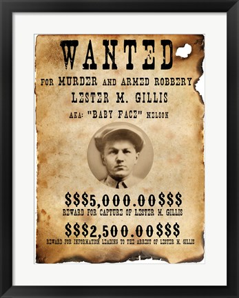 Framed Baby Face Nelso Wanted Poster Print