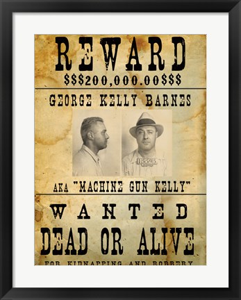 Framed Machine Gun Kelly Wanted Poster Print