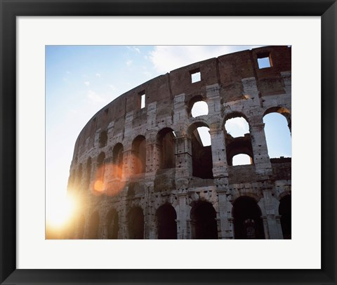 Framed Low angle view of the old ruins of an amphitheater, Colosseum, Rome, Italy Print