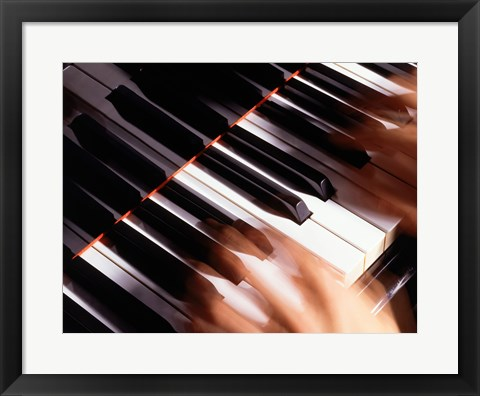 Framed Close-up of a person's hands playing a piano Print