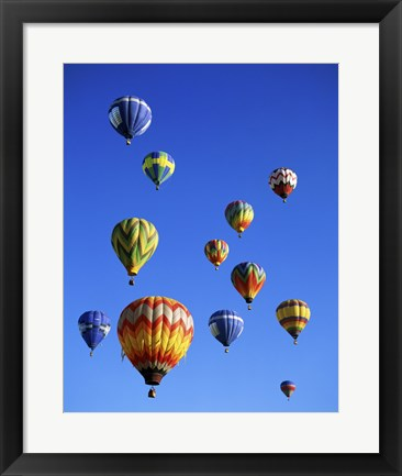 Framed Hot air balloons rising, Albuquerque International Balloon Fiesta Print