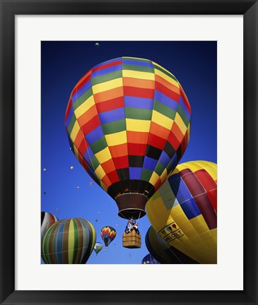 Framed Brightly Colored Hot Air Balloon with Basket Print