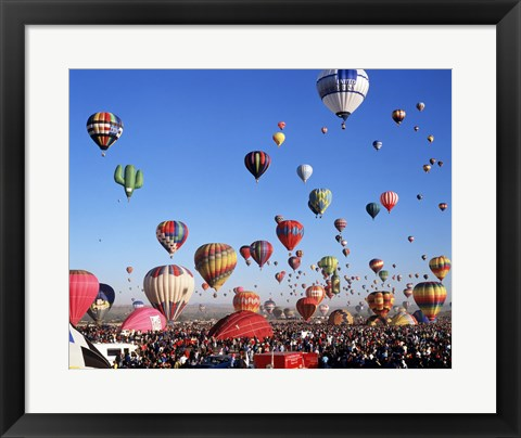 Framed Group of Hot Air Balloons Taking Off Print