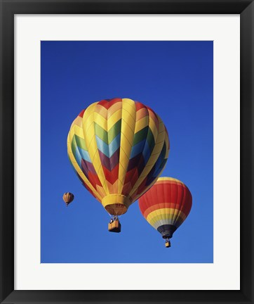 Framed Rainbow Colored Hot Air Balloons Print