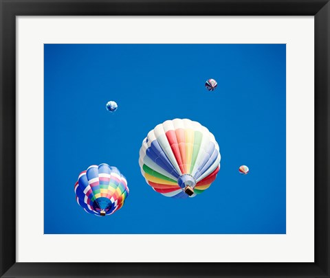 Framed Rainbow Hot Air Balloons as Seen from Below Print