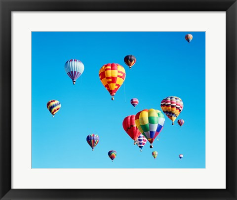 Framed Group of Hot Air Balloons Floating Together in Albuquerque, New Mexico Print