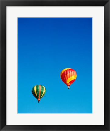 Framed Green and Red Hot Air Balloons Taking Off Print