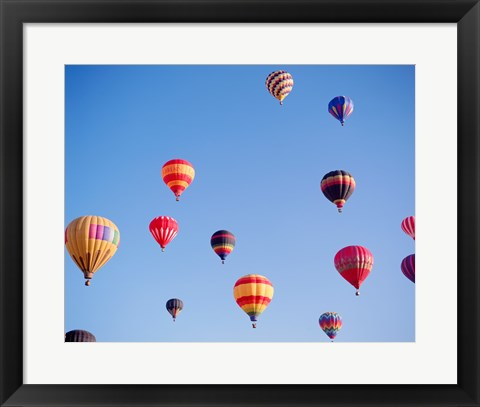Framed Hot Air Balloons in a Faded Sky Print