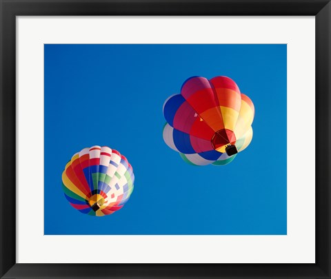 Framed Two Hot Air Balloons Flying Away Print