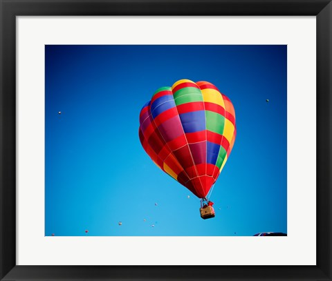 Framed Rainbow Hot Air Balloon with other Hot Air Balloons Far Away Print
