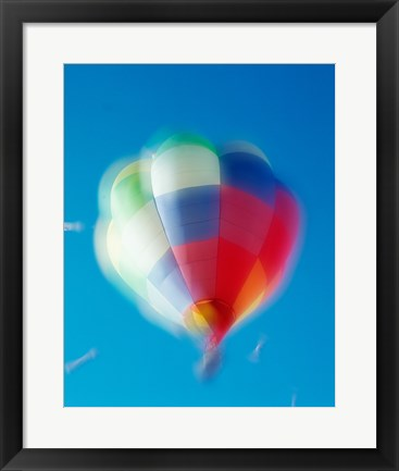 Framed Blur view of a hot air balloon in the sky, Albuquerque, New Mexico, USA Print