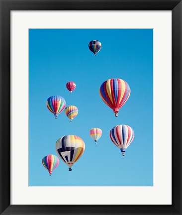 Framed Group of Colorful Hot Air Balloons Print
