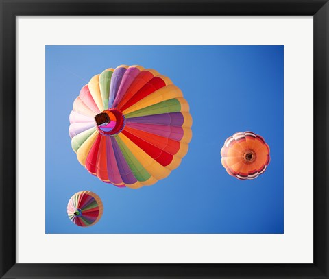 Framed Three Rainbow Colored Hot Air Balloons from Below Print