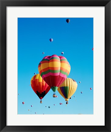 Framed 3 Hot Air Balloons Together with Other Hot Air Balloons in the Background Print