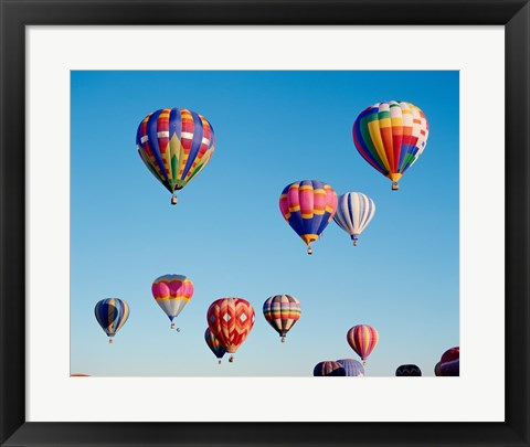 Framed Hot Air Balloons in a Group Floating into the Sky Print