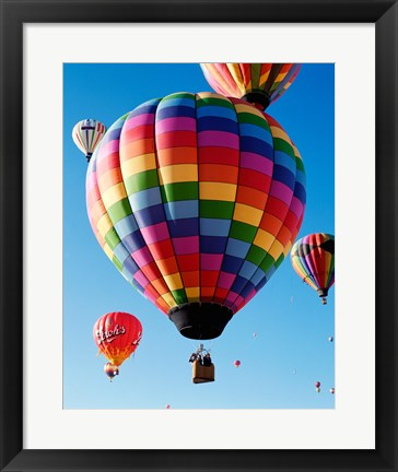 Framed Gorgeous Rainbow Hot Air Balloon Print