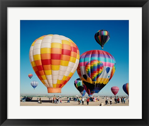 Framed Hot air balloons taking off, Balloon Fiesta, Albuquerque, New Mexico Print
