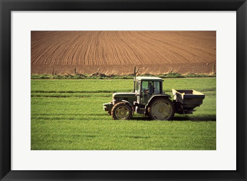 Framed Tractor in a field, Newcastle, Ireland Print