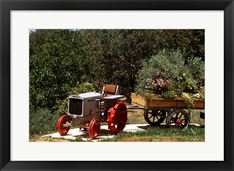 Framed Tractor with a wagon filled with flowers, Provence, Provence-Alpes-Cote d'Azur, France Print