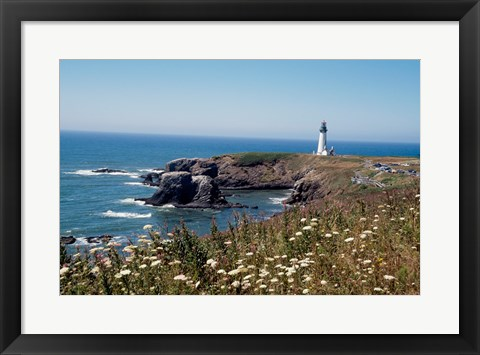 Framed Lighthouse on the coast, Yaquina Head Lighthouse, Oregon, USA Print