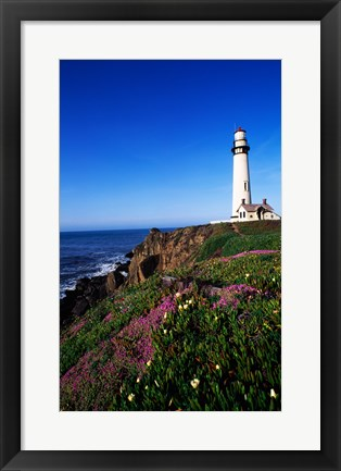 Framed Lighthouse on the coast, Pigeon Point Lighthouse, Pigeon Point Light Station State Historic Park, California, USA Print