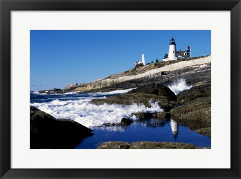 Framed Pemaquid Point Lighthouse Pemaquid Point Maine USA Print