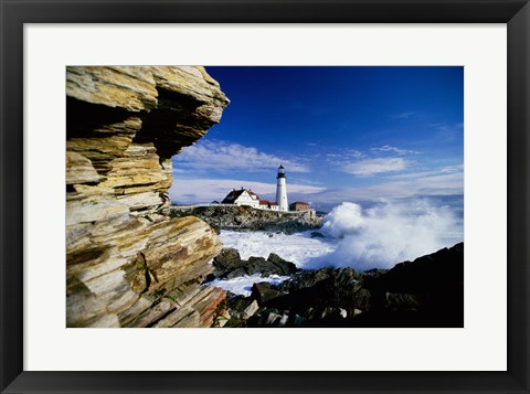 Framed Portland Head Lighthouse, Cape Elizabeth, Maine, USA Print