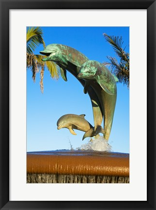 Framed Dolphin Fountain on Stearns Wharf, Santa Barbara Harbor, California, USA Sculpture Print