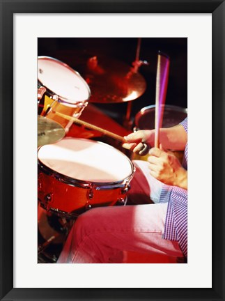 Framed Man playing the drums Print