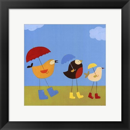 Framed Rainy Day Birds I Print