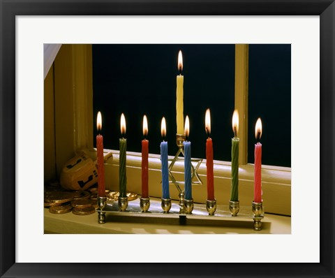 Framed Close-up of a menorah with burning candles and a Star of David Print