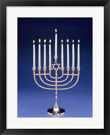 Framed Close-up of a menorah with a Star of David Print